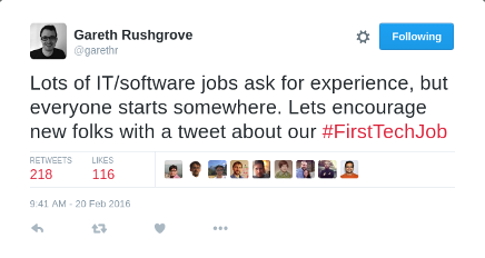 Lots of IT/software jobs ask for experience, but everyone starts somewhere. Lets encourage new folks with a tweet about our #FirstTechJob